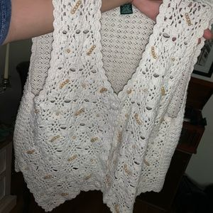 White crochet boho vest